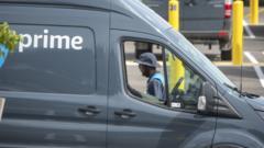 Amazon delivery vehicles in Miami