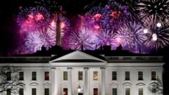 Later in the evening there were firework displays all over the US capital, Washington DC's most famous buildings including the White House itself.