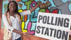 Whitney and a polling station sign