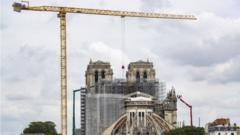 Work on top of Notre-Dame Cathedral, in Paris, France, 08 June 2020