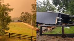 Composite image of the Costigan's family home during the 2019 bushfires (left) and the aftermath of floods in 2020 (right)