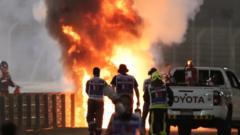 Formula One Car crashes into flames.