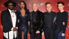 The voice judges Will.i.am, Jennifer Hudson, Tom Jones, Olly Murs and Emma Willis
