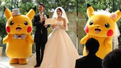 Pikachu mascots at a wedding in Japan