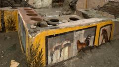 Frescos on an ancient counter discovered during excavations in Pompeii, Italy