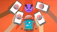 A robot surrounded by phones with angry and rude emojis