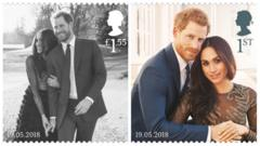 Image shows a pair of stamps featuring Meghan Markle and Prince Harry in different poses.