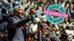 Nelson Mandela giving a speech next to the Quiz of the Week Logo.