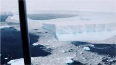 The RAF releases footage from its reconnaissance flight over the giant Antarctic berg known as A68a.