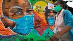 A coronavirus mural in Nairobi's Mathare settlement.