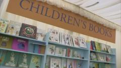 Books on a shelf at Hay Festival