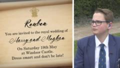 Composite image of mocked up Royal wedding invite and Reuben