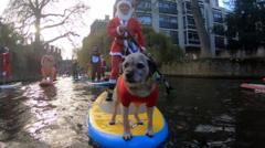 Santa on a paddleboard