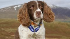Max with his order of merit medal around his neck