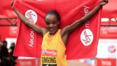 Jemima Sumgong finishing the london marathon