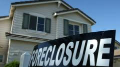 Foreclosure sign outside a US house