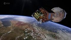 Artist's image of the satellite above the earth.