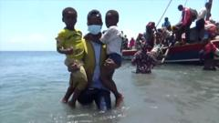 People escaping by boat