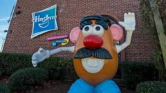 A large Mr Potato Head toy greets visitors to the corporate offices Hasbro