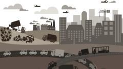 animation of a polluted city