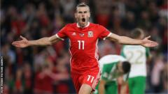 Gareth Bale celebrates scoring in Wales' 4-1 Nations league win over the Republic of Ireland in September
