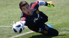 Goalkeeper Kepa Arrizabalaga attends a training session