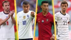 Harry Kane, Kylian Mbappe, Cristiano Ronaldo and Thomas Muller