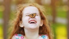 Butterfly on a child's face.