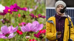 Greta Thunberg and a wild flower meadow