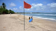 A quiet beach at Kuta, Bali, Indonesia (15 Aug 2020)