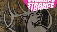 An elk motif and the Strange logo