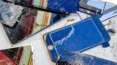 broken mobile phones.
