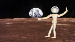An art mannequin superimposed on the moon