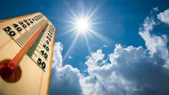 Thermometer against blue sky