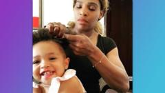 Serena Williams plaiting her daughter Olympia's hair.