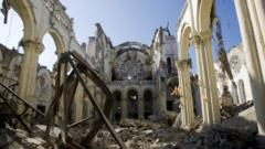 The remains of a cathedral in Port-au-Prince, Haiti devastated by the Earthquake. january 16th 2010