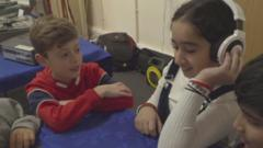Children listening to music.
