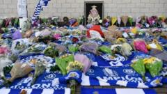 Flowers and scarves at Leicester City football club