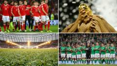 Composite image of Welsh and Irish national teams, World Cup trophy and stadium