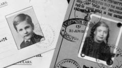 Travel documents for three children who travelled on the Kindertransport.