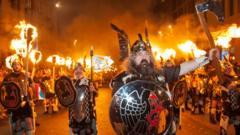Hogmanay procession in Edinburgh with men dressed as Vikings.