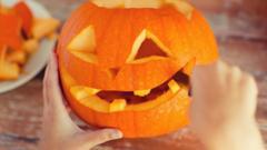 Pumpkin being carved.