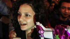 File photo showing Egyptian human rights activist Sanaa Seif after being released from prison in Cairo in November 2016
