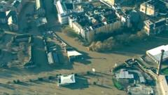 Aerial views of flooded parts of York