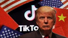 Donald Trump in front of TikTok sign and American and Chinese flags.