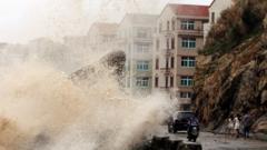 Typhoon approaching coast of China