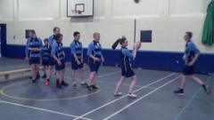 Children learn to play rugby at a school in Glasgow, Scotland