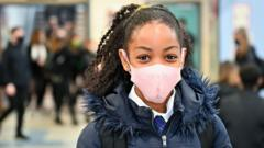 School child wearing mask