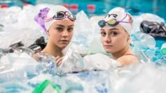 Handout photo dated 05/03/19 issued by The Big Bang Fair of British Synchronised swimmers Kate Shortman and Isabelle Thorpe, who attempt to recreate their World Championship routine in a pool filled with plastic