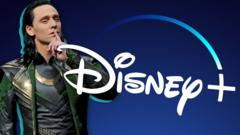 Tom Hiddleston dressed as Loki next to the Disney+ logo